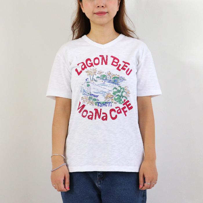 タヒチ プリント Vネック 半袖Tシャツ