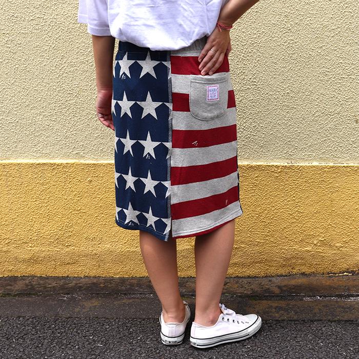 星ボーダー パイル スカート