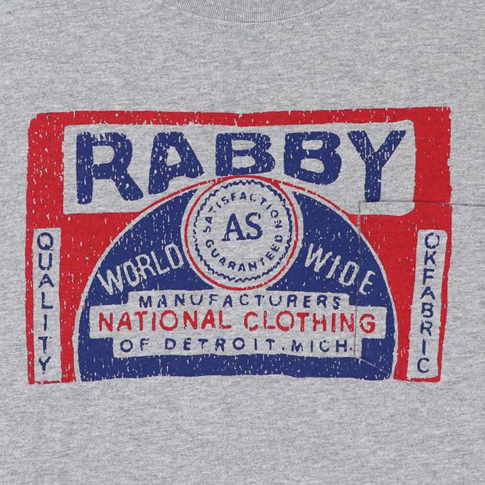 RABBY プリント ポケット付き ゆったり Tシャツ