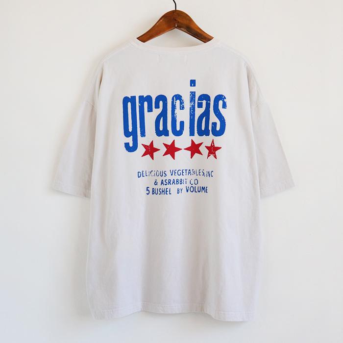 gracias プリント 後染め ビッグTシャツ