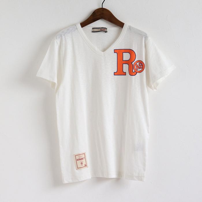 ボコ天竺 Rプリント Vネック 半袖Tシャツ