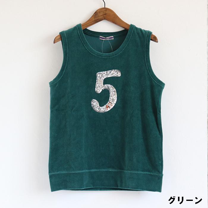 """""""5""""スパンコール ベロア タンクトップ"""
