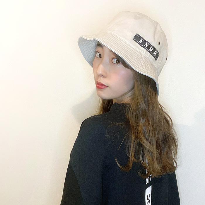 andR;21SS ネガ風ネーム付き バケットハット 【受注生産】
