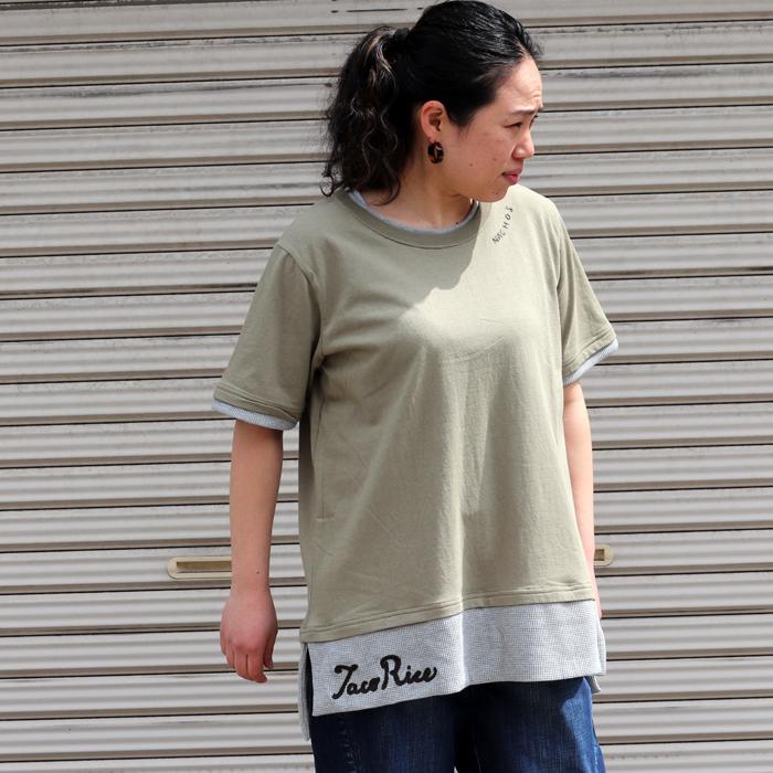 Lime.inc ワッフル重ね着風 半袖Tシャツ