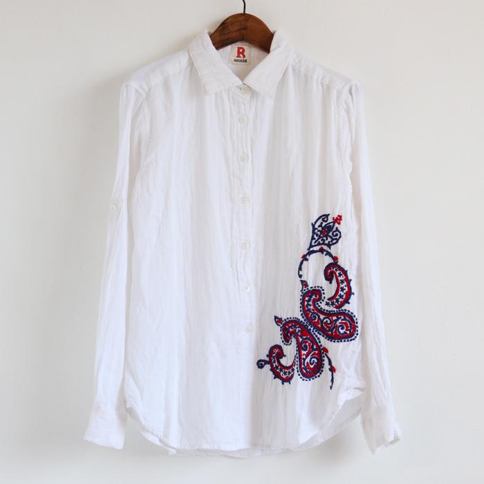 ペイズリー柄 ハンド刺繍 長袖シャツ