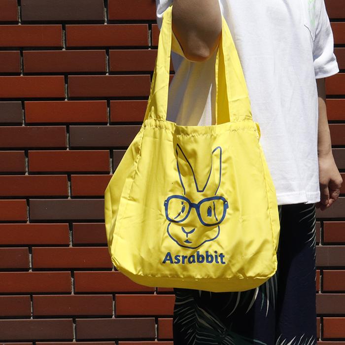 【新色あり】 メガネうさぎプリント マルシェ エコバッグ