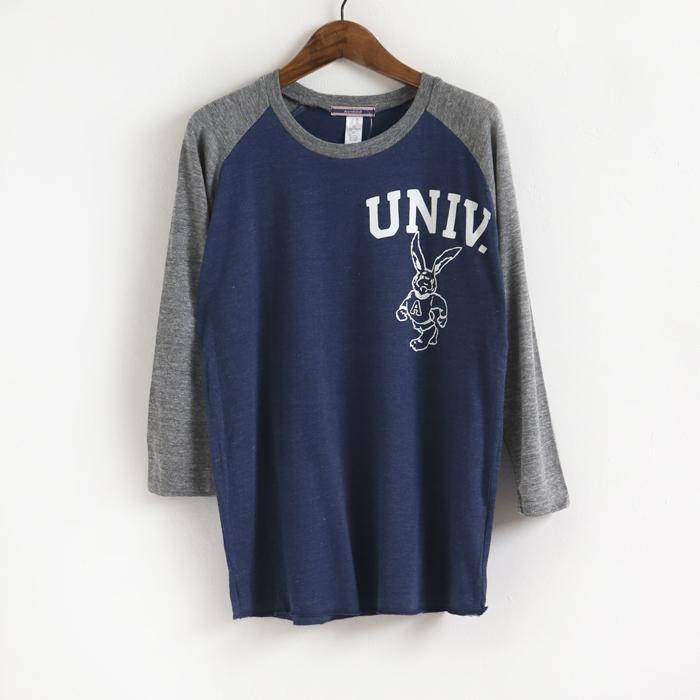 UNIV. プリント ラグラン 7分袖Tee