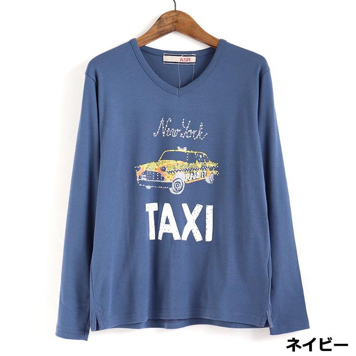 TAXI ラインストーン 長袖Tシャツ