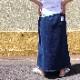 2本ライン インディゴ ロングスカート