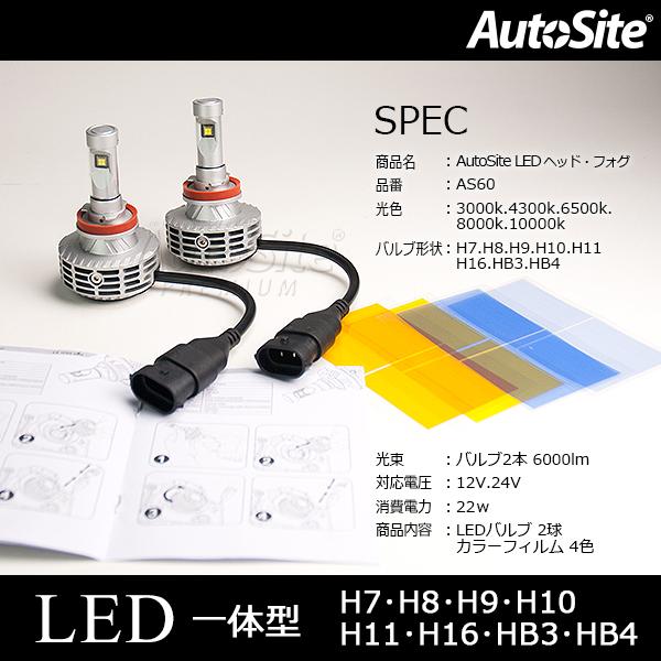 LED ヘッドライト H7 カラーフィルム付 6000lm バルブ1本3000lm ファンレスPHILIPS AS60 全5色 3000k 4300k 6500k 8000k 10000k 12v 24v 普通車 大型車