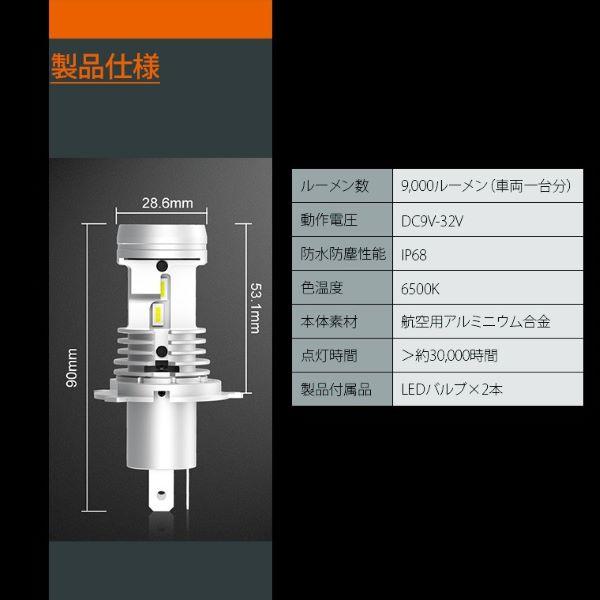 AS98 LED ヘッドライト H4 Hi/Lo 6500k 9000lm 普通車 12v 一体型 AutoSite 角度調整可 ファン付き