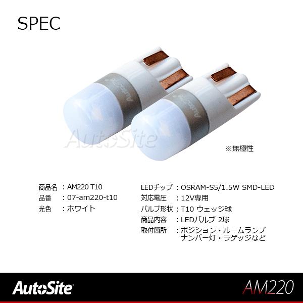 ウェッジ球 T10 LEDポジション ルームランプ ラゲッジ ナンバー灯 マップランプ 12v 普通車 ショートタイプ 番号灯 ライセンス 車幅灯 スモール オスラム OSRAM-S5 1.5W LED AM220 2球入 ホワイト [メール便]