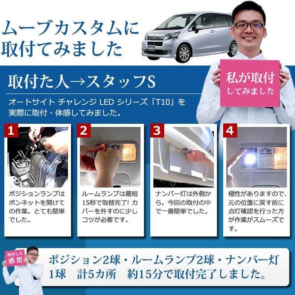 ルームランプ ナンバー灯 ポジション球 T10 LED 白 ホワイト 12v 10球 AM01-105 [送料無料][メール便] オートサイト/AutoSite