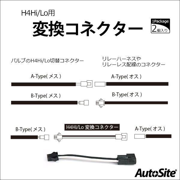 H4 Hi/Lo変換コネクター 白黒線 HID H4 [メール便]