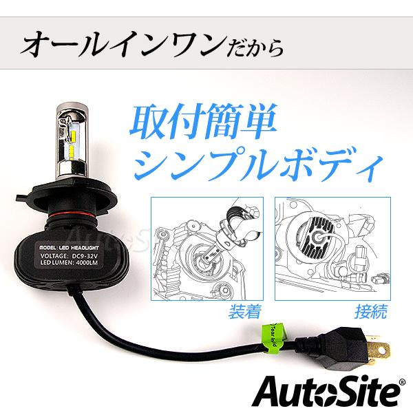 バイク用 H4 LED ヘッドライト 4000Lm AS30 6500k 1球 ファンレス 12v