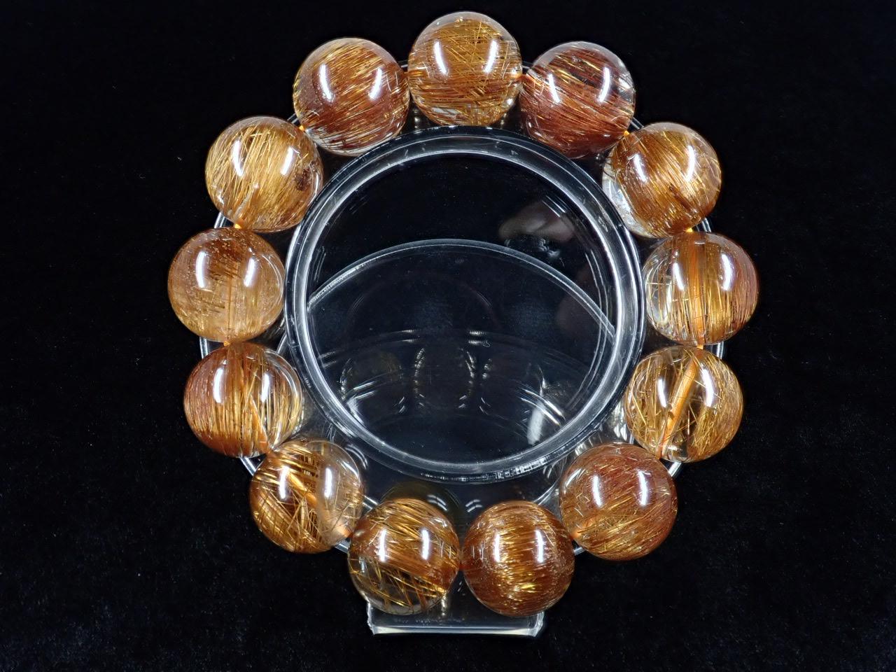 キャッツアイオレンジブラウンルチル ブレスレット 16.2� SA