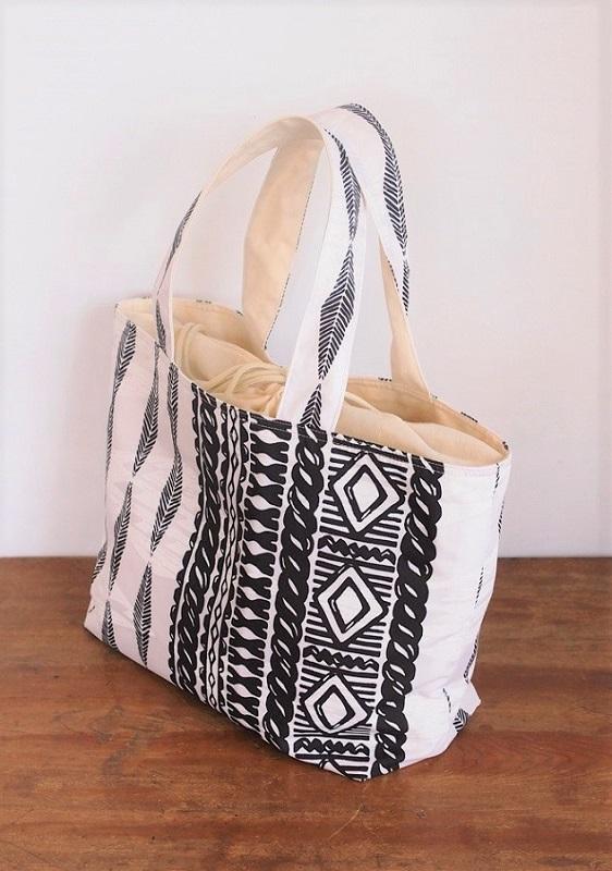 ハワイアンLトートバッグ カヒコ白 【かみなり村本舗】【納期約3〜5日 残り1ケ】
