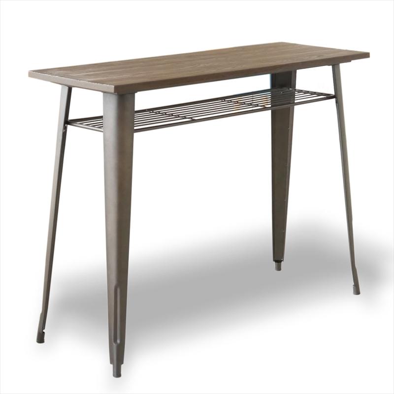 ナチュラルウッド1281ハイテーブル(ダークブラウン色)【KD】