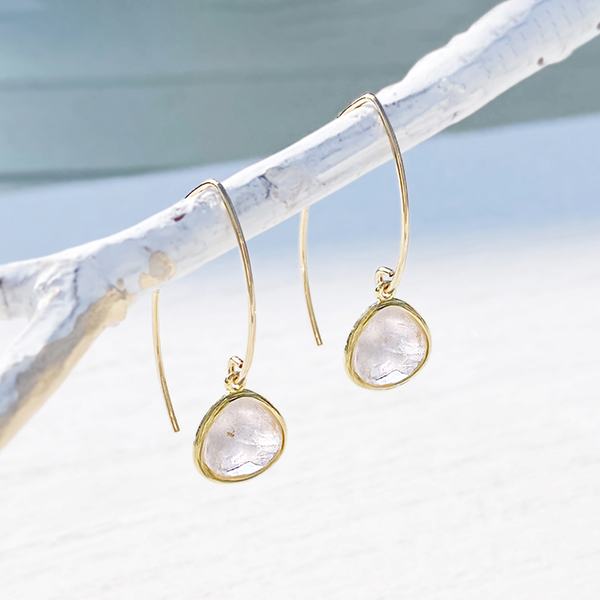 [14Kgf] Gold frame gemstone pierce(rose quartz)