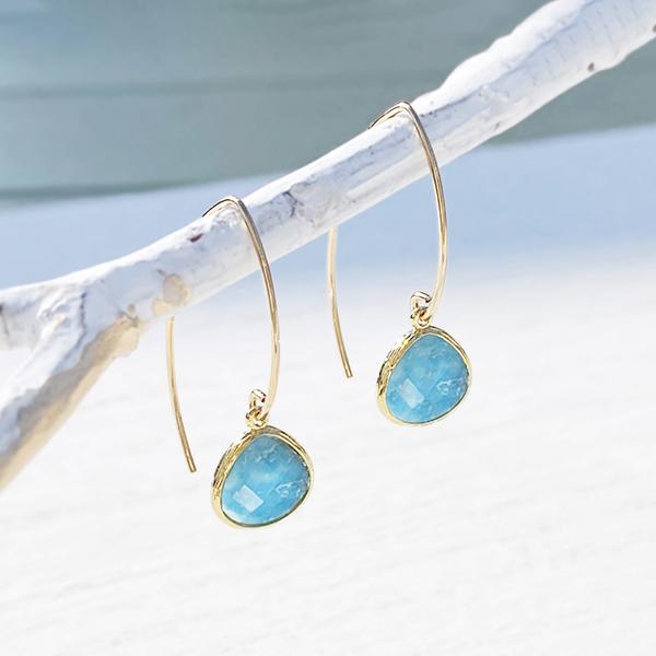 [14Kgf] Gold frame gemstone pierce(turquoise)