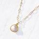 [14Kgf] Rose quartz necklace / cable chain wide