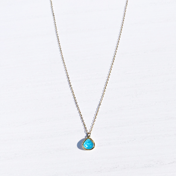 [14Kgf] Turquoise necklace / cable chain