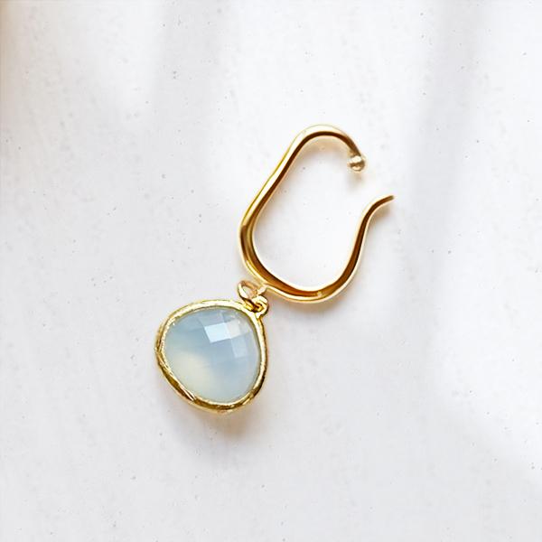 Blue chalcedony ear cuff