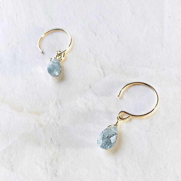 [14Kgf] Smoky aquamarine pierce