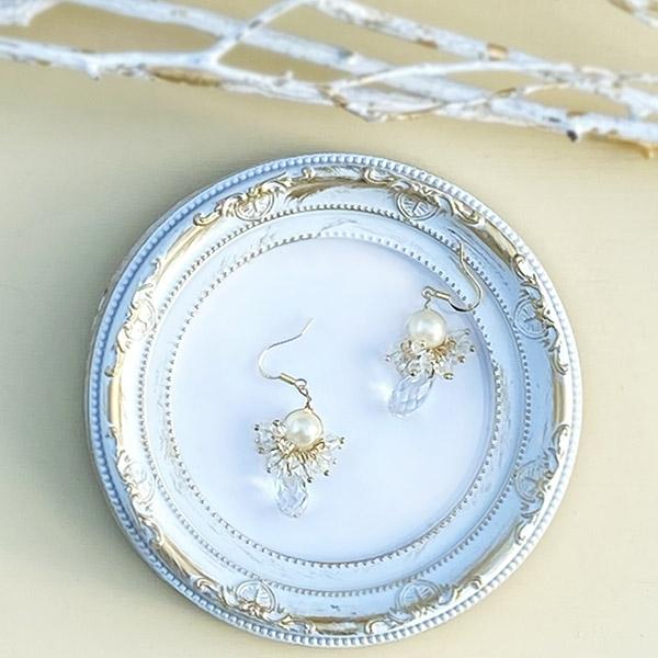 Elegant pearl&stone pierce (gold)