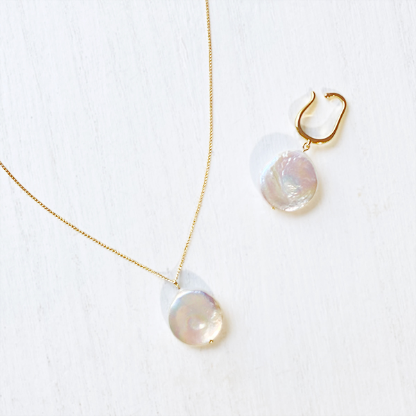 [14Kgf] Flat pearl necklace
