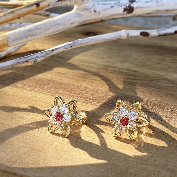 Flower & star pierce (red)