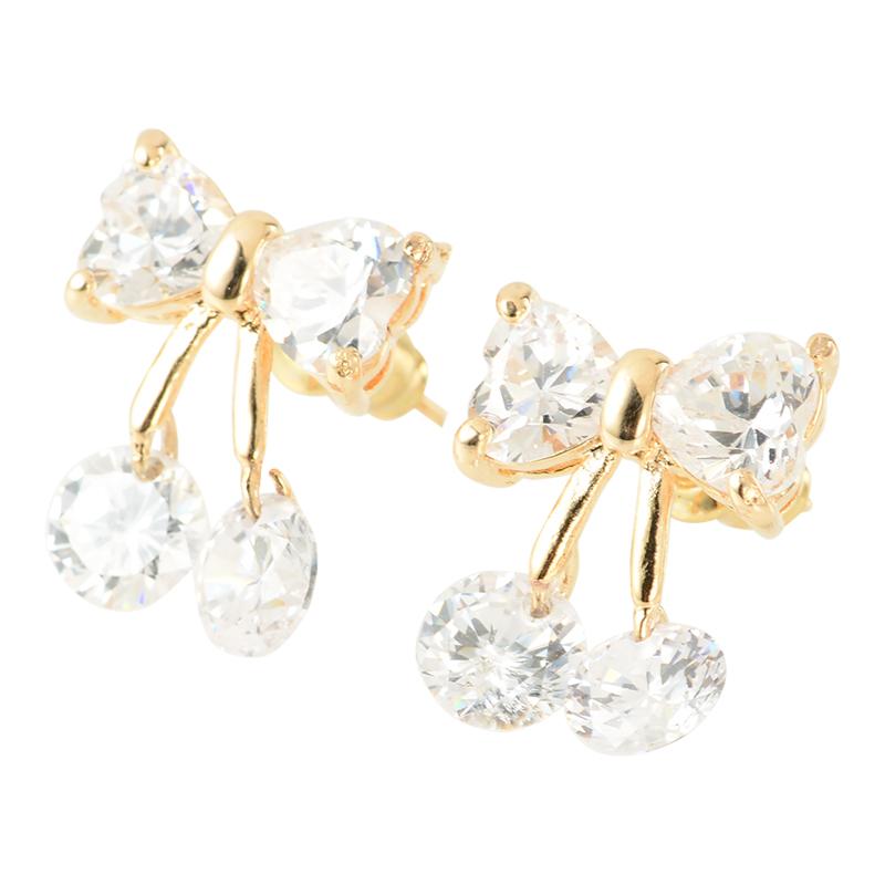 【SET】Ribbon cherry necklace & pierce (gold)