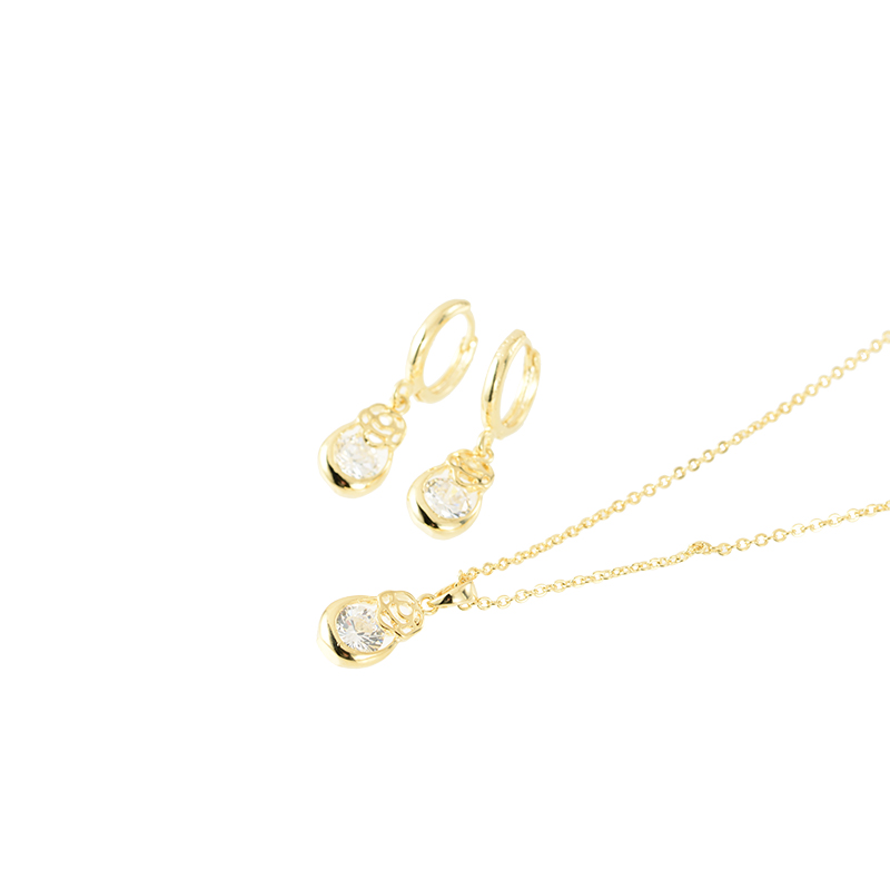 【SET】 Flower drop stone pierce & necklace