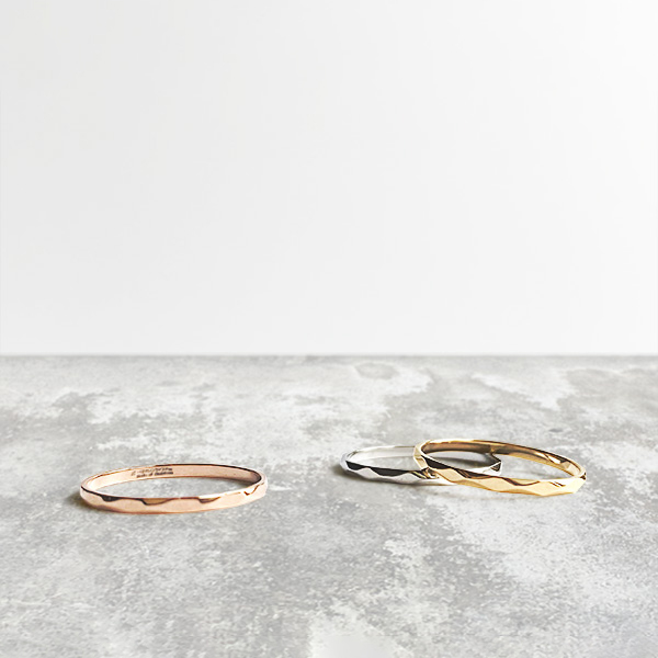Shine hammered ring