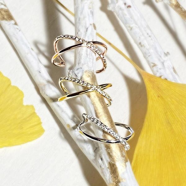 [2way] X cross stone ear cuff _ ring
