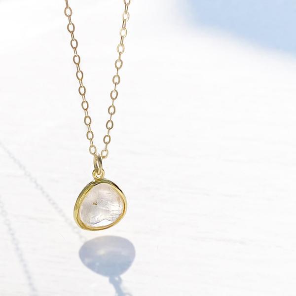 [14Kgf] Rose quartz necklace / cable chain