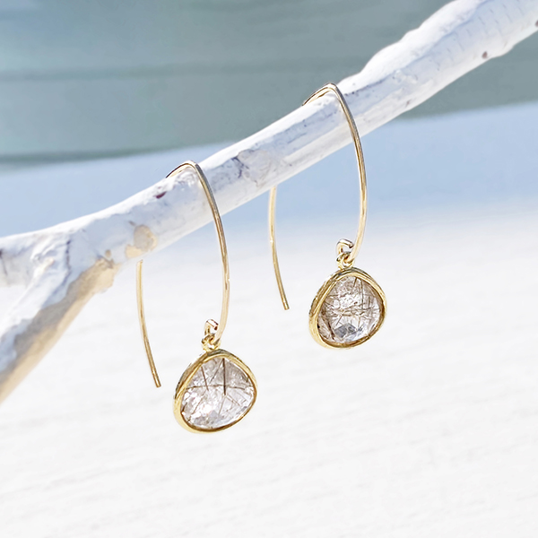 [14Kgf] Gold frame gemstone pierce(rutile quartz)