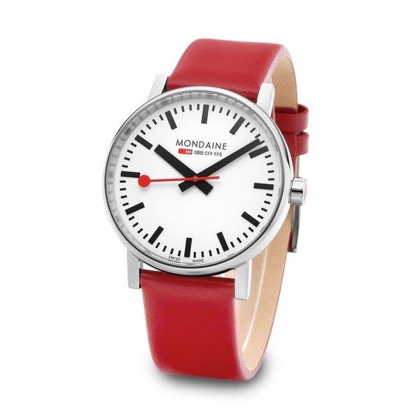 MONDAINE モンディーン MSE.40110.LC Evo2 メンズ 腕時計 Red Leather Watch 41mm