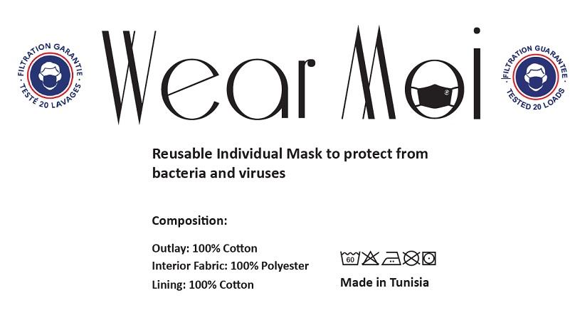 【Men/男性用】WEARMOI コットン立体マスク MASK008