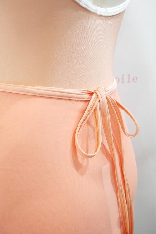 YUMIKO シフォンスカート PAT G-Salmon/N-Peach ロング