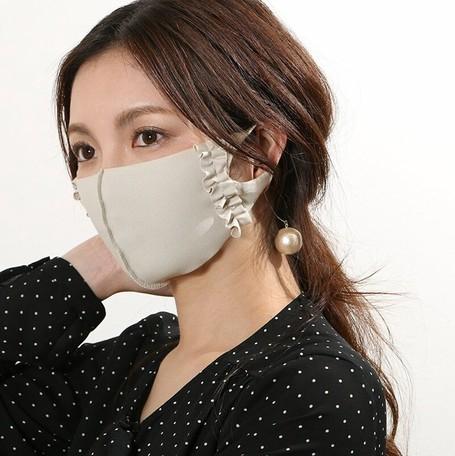 【5色】ひんやり快適 濡らして瞬間冷却 ! フリル付き立体マスク