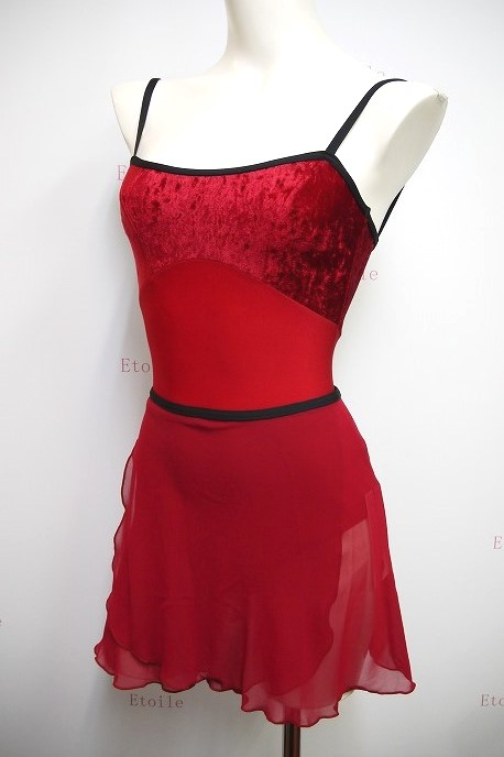 YUMIKO シフォンスカート PAT G-Red/N-Black ロング