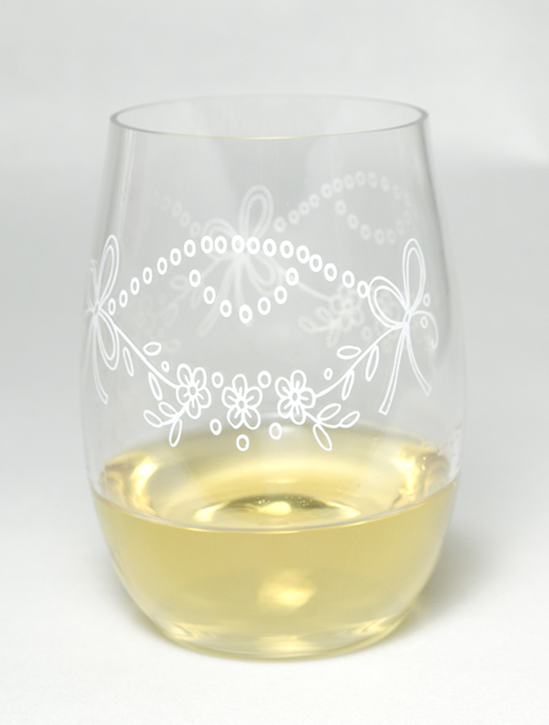 割れないグラス Tritan(トライタン)ステムレスワイングラス・花柄 450ml