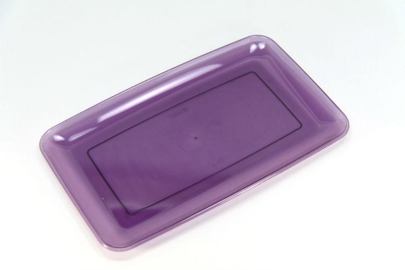 カラフル プラスチック製 長方形皿 24cm 3枚入り【パープル】Mozaik レクタングル プラッター