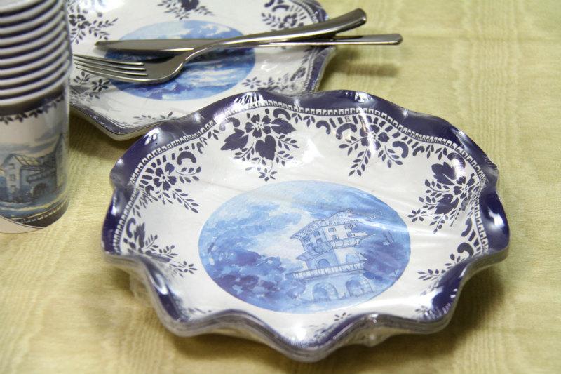 パーティーに!イタリア製 紙皿 Exclusive Trade/English Blu ディーププレート(パスタ皿)24cm(10枚入り)