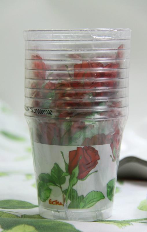 イタリア製 おしゃれなプラスチックコップ Exclusive Trade/Rose 10個入り 300ml