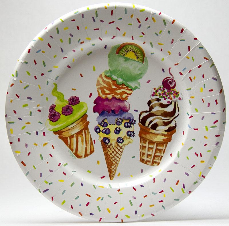 【紙皿 ペーパープレート アイスクリーム】Caspar サラダ デザート ペーパープレート 8枚入り Ice Creame Party 【パーティー イベント バースデー ピクニック 行楽】