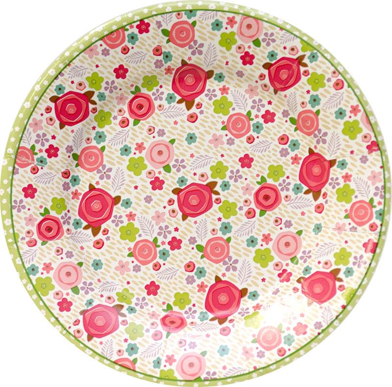 【紙皿 ペーパープレート 花柄】Caspar サラダ・デザート ペーパープレート Rosie柄 8枚入り【パーティー イベント バースデー 女子会 キッズパーティー】
