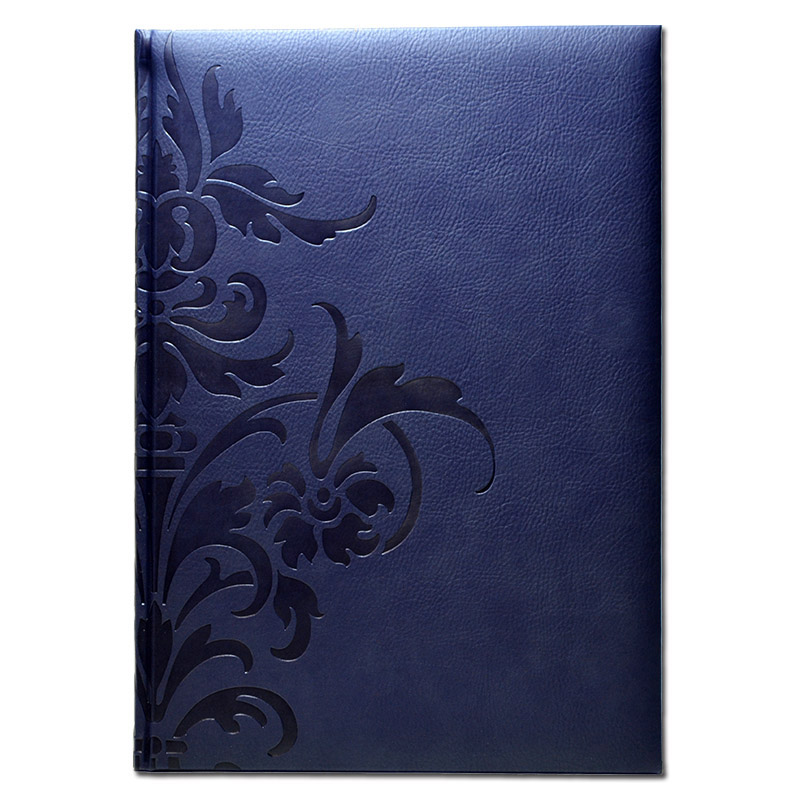 【50%OFF】イタリア製 輸入 エンボスカバーのノートブック /ダマスク ネイビー(ラージ) Pierre Belvedere