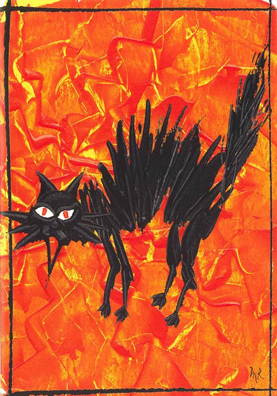 【ハロウィンカード ネコ】高品質 Caspari製 グリーディングカード By Masaki Ryo 定型外サイズ